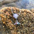 Whale Calling Purple Sea Glass Necklace