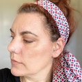 Blue, Red and White Boho Wire Headband, Wire Headscarf, Twist Headband