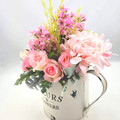 Pink Silk Rose Arrangement in Watering Can - Flowers for Mothers Day Gift