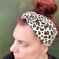 Cream Leopard Boho Wire Headband, Wire Headscarf, Twist Headband