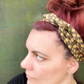 Gold Polka Dot Boho Wire Headband, Wire Headscarf, Twist Headband
