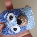 Blue/Bingo Handmade Crochet Keychains, School Bag Decoration