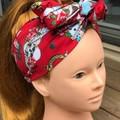 Pinup and Skulls Rockabilly Boho Wire Headband, Wire Headscarf, Twist Headband