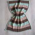 Crochet baby blanket brown green beige baby shower gift; keepsake; travel afghan