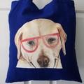 Handmade Tote Bag - Blue - Labrador Dog with Glasses Cute Unique Puppy Love