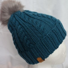 Knitted winter beanie (teal) - child