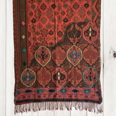 Burgandy & Black Unique Design Wool Jacquard Shawl by Sen Saish