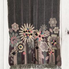 Grey, Pink & Purple Floral Unique Design Wool Jacquard Shawl by Sen Saish
