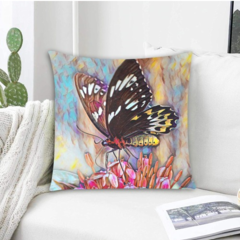 Oil painting of a Butterfly On Flower. Cushion Covers. (FREE DELIVERY)