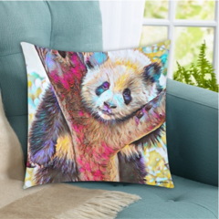 Posing Panda Oil Painting. Cushion Covers. Free Delivery