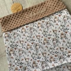 Personalised baby blanket, minkie blanket, pram blanket, australiana, koalas