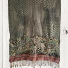 Grey & Tan Floral Design Wool Jacquard Shawl by Sen Saish