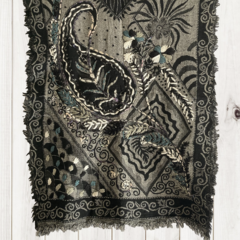 Black & Grey Floral Design Wool Jacquard Shawl by Sen Saish