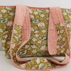 Beautiful zippered peach, olive and blue tote.