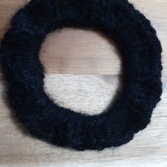 Charcoal Crochet Hair Scrunchie