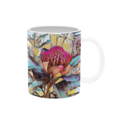 Waratah Flower Oil Painting. Coffee Cup. Free Delivery