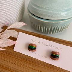 """""""Tiny Hamburger"""" Handmade Polymer Clay Studs"""
