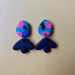 Party Pattern Dangle Earrings - Polymer Clay Earrings