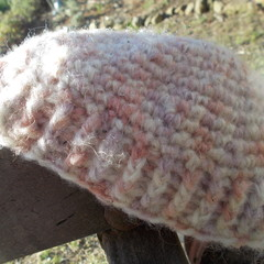 crocheted child's fez style beanie made from mohair and acrylic