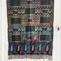 Purple & Black Paisley Design Wool Jacquard Shawl by Sen Saish