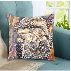 Tawny Frogmouth. Cushion Covers. 45cm x 45cm (FREE DELIVERY)