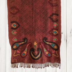 Burgandy & Paisley Unique Design Wool Jacquard Shawl by Sen Saish