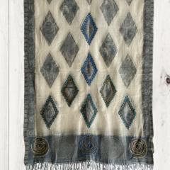 Light Blue & Cream Diamond Design Wool Jacquard Shawl by Sen Saish