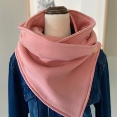 Handmade Wrap Scarf made from dusky pink sweatshirt material