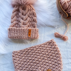 Reserved for Kirsty A - Baby Vieno Beanie & Snood - Blush Pink