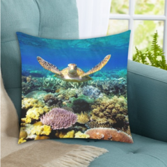 Turtle Gliding over the Great Barrier Reef. Printed On Cushion Covers. Free Deli