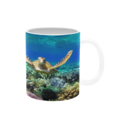 Turtle Gliding Over Great Barrier Reef. Coffee Cup. Free Delivvery