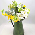 Green & Gold Artificial Native Flower Arrangement in Jug - Mothers Day Gift