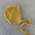 Yellow textured  bonnet  - size 0-3months  Hand knitted  Wool cotton