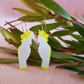 Yellow - Crested Cockatoo Hoops Statement Earrings - Native birds