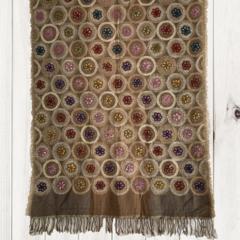 Two Tome Tan Floral Unique Design Wool Jacquard Shawl by Sen Saish #18