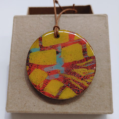 """Orange Stipes"" circle pendant with leather cord"