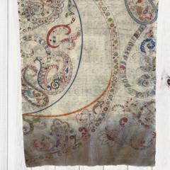 Cream Floral Unique Design Linen Digital Print Shawl by Sen Saish #20
