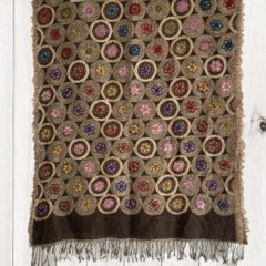 Brown Floral Unique Design Wool Jacquard Shawl by Sen Saish #16