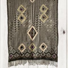 Grey Geometric Unique Design Wool Jacquard Shawl by Sen Saish #12