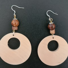 Large Round Wood Earrings with Bauxite Stone