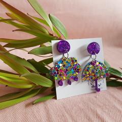 Umbrella & Cloud dangle earrings - Mixed Colours Glitter