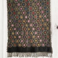 Black Floral Unique Design Wool Jacquard Shawl by Sen Saish #15