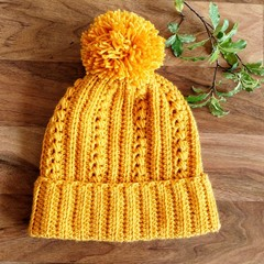 ADULT Ladies Mustard Crocheted Beanie with Pompom