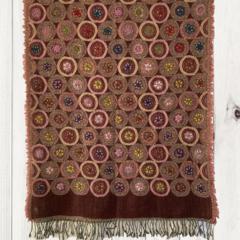 Burgandy Floral Unique Design Wool Jacquard Shawl by Sen Saish #17