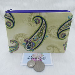 Women's Wallet Coin & Card Scripts Cosmetic Jewellery Pouch- Paisley Design