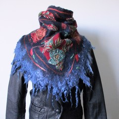 Felted Handkerchief Blue Red Head Neck Gipsy