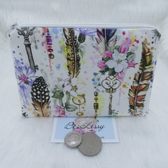Women's Small Clutch Scripts Cosmetic Jewelry Pouch - Boho Key & Feather