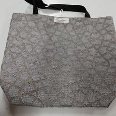 Supermarket Shopping Bag - Taupe/Aubergine Grey Geometric