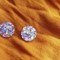 20 mm Round Stud Glitter Earrings