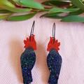 Gang Gang Cockatoo Hoops Statement Earrings - Native birds